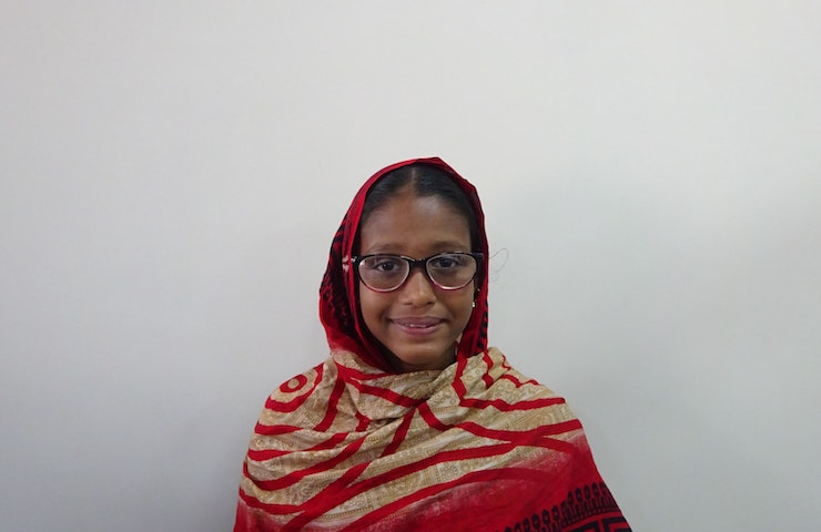 Tania from Bangladesh receives new glasses
