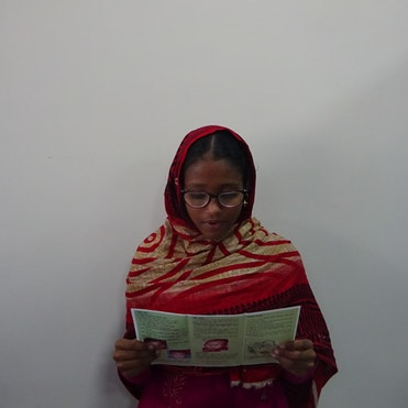 Tania from Bangladesh during her eye examination