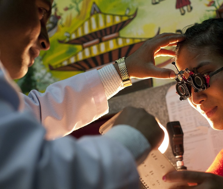 Nepalese patient Sharmila being tested for new glasses
