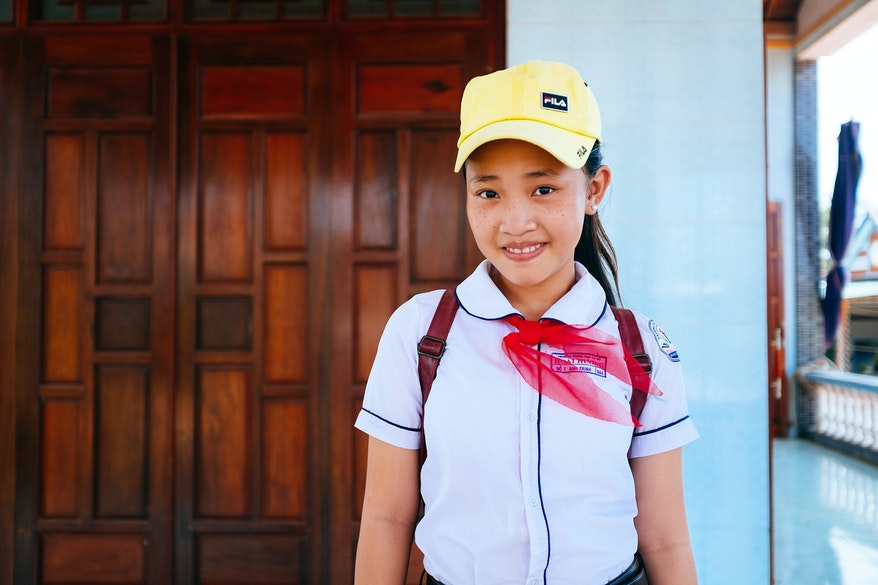 Strabismus patient Trinh, Vietnam, in her school uniform