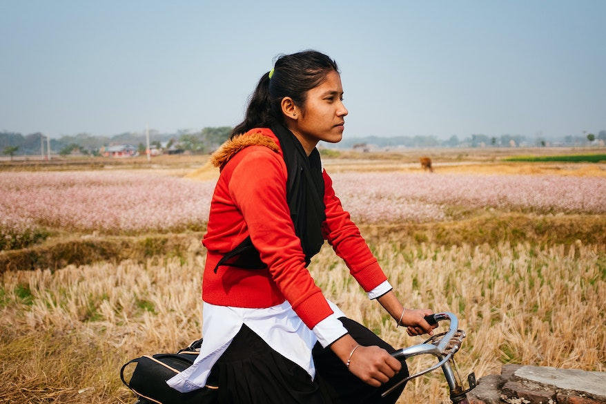 Bitisha from Nepal rides her bike home