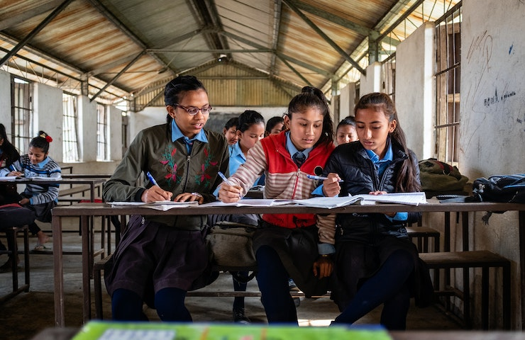 Ganga and her friends at school in Nepal