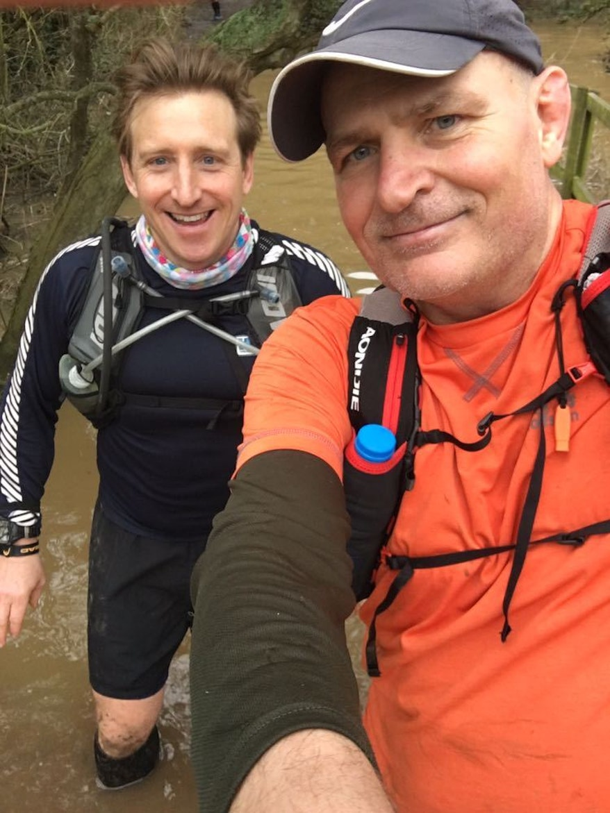 Ian Wilkinson and Greg Hingley, friends of Simon Speirs, doing the Green Man Ultra