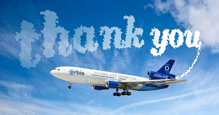 Cloud trail thank you from Flying Eye Hospital
