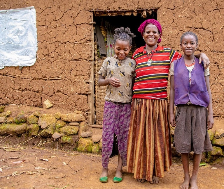 Mother and two daughters in Ethiopia.