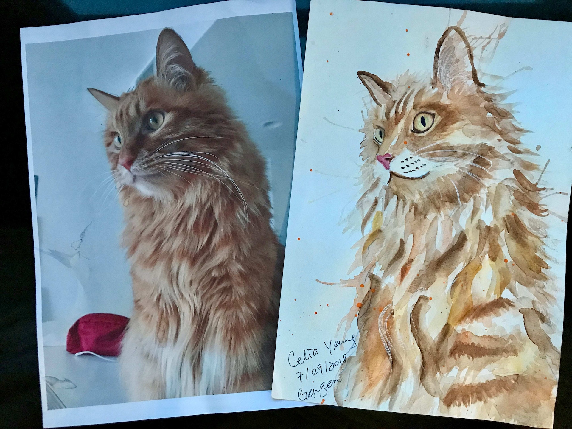 Celia's sketching: Watercolor painting of her cat Gengen