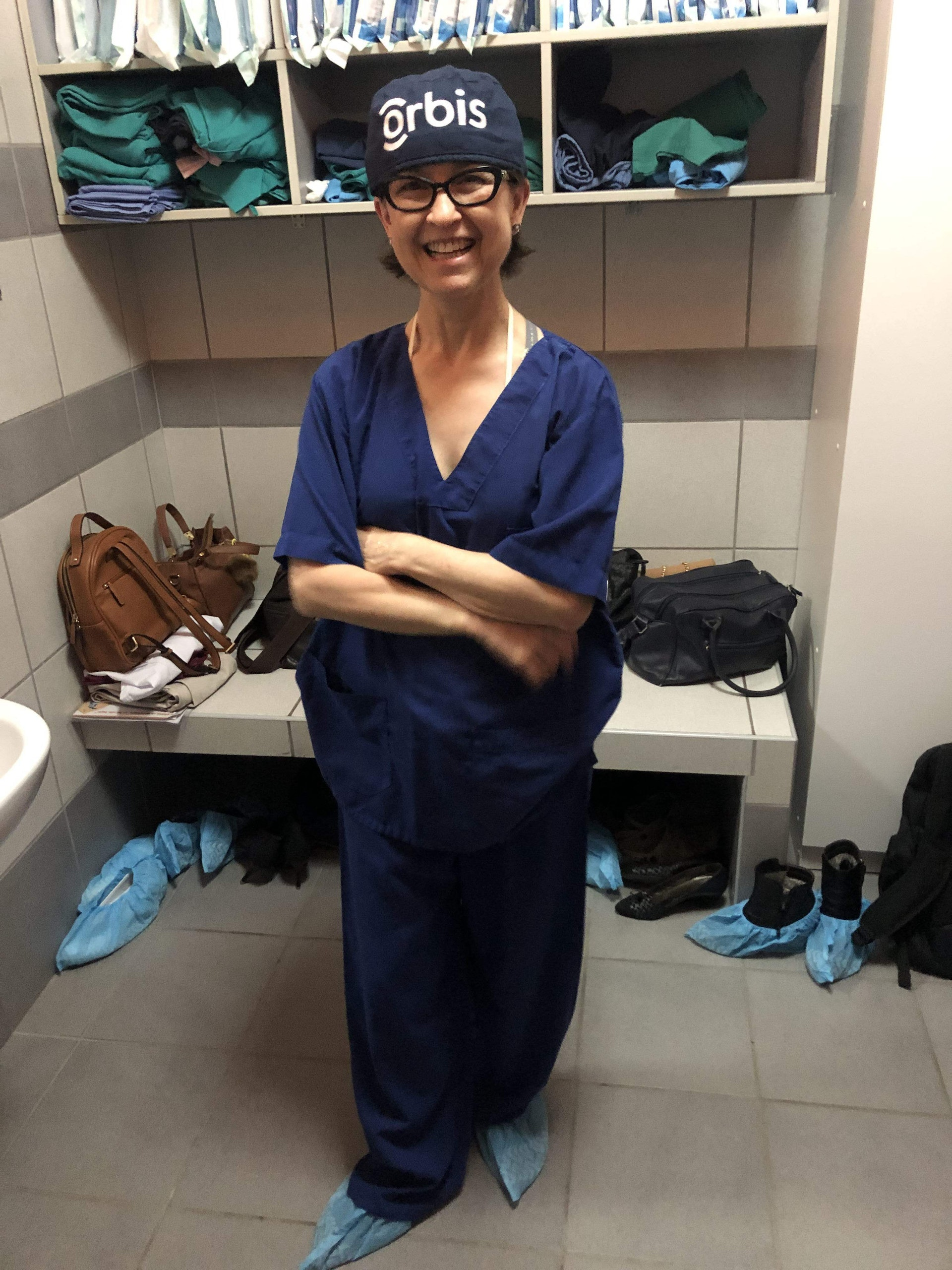 Orbis Volunteer Faculty Dr.Laura Wayman in her scrubs