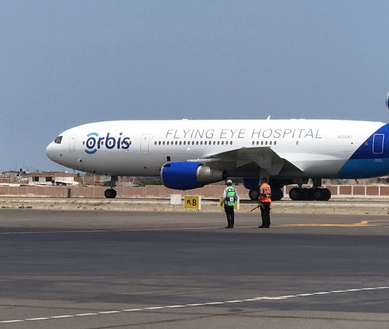 Flying Eye Hospital landing in Peru