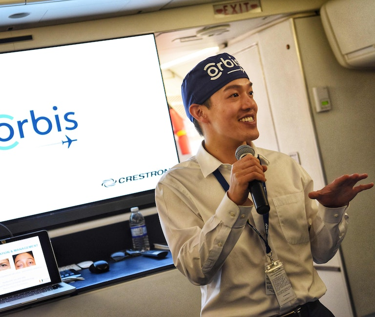 Orbis Flying Eye Hospital first time volunteer faculty Dr. Bradford Lee