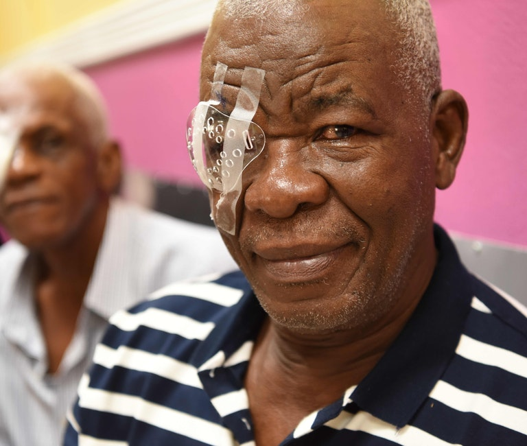 Orbis Flying Eye Hospital Jamaica cataract patient Denzil