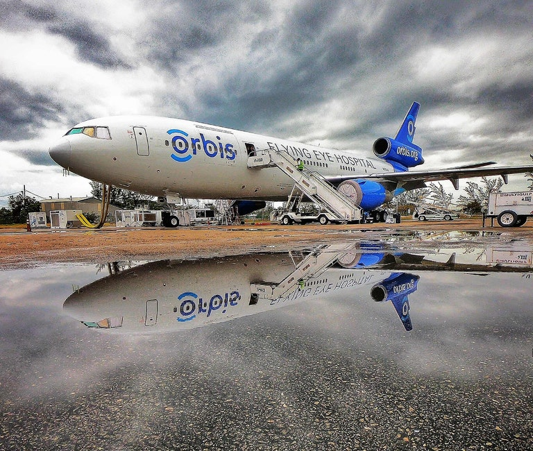 Orbis Flying Eye Hospital on the tarmac in Kingston, Jamaica