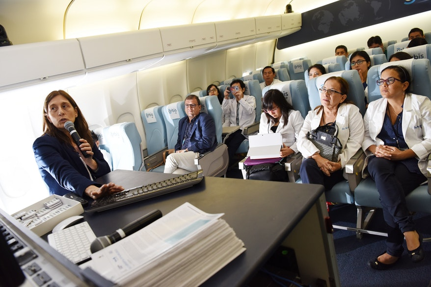 A lecture takes place on board our Flying Eye Hospital in Peru