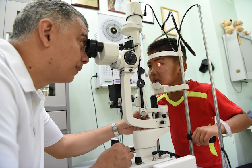 Nyamdorj being screened again by an Orbis eye doctor ahead of surgery