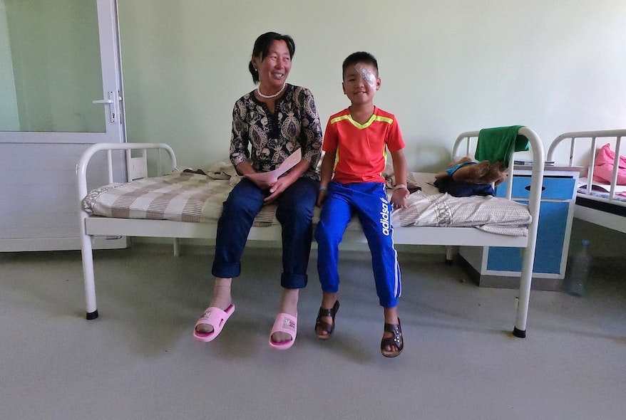Nyamdorj with his mother after his first cataract surgery in Mongolia