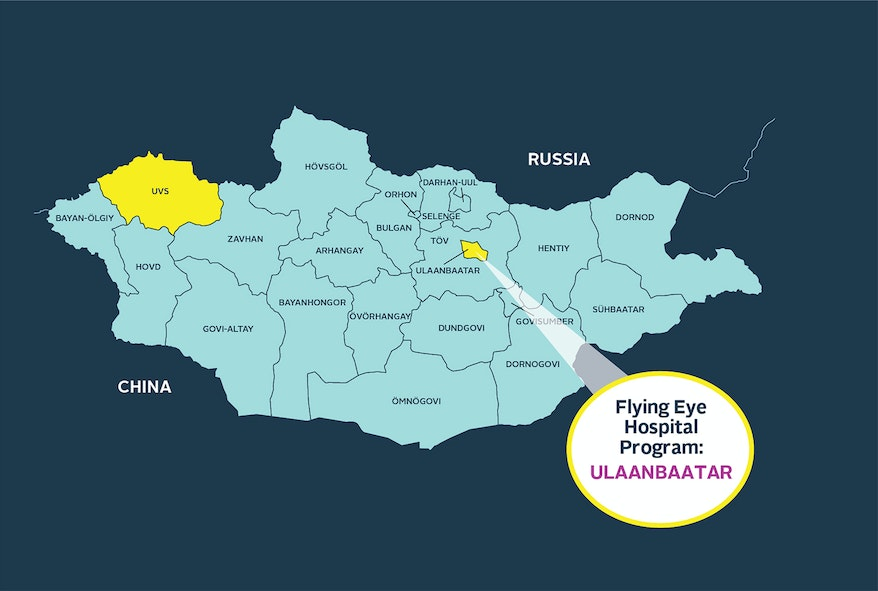 Map of Mongolia where access to affordable and quality eye care is limited