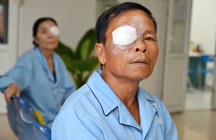 Patient Dung after cataract removal surgery on Orbis Flying Eye Hospital in Vietnam