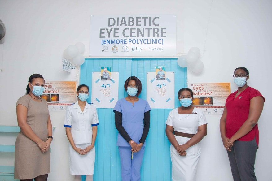 Staff in PPE at the diabetic eye centre, Enmore Polyclinic, Guyana