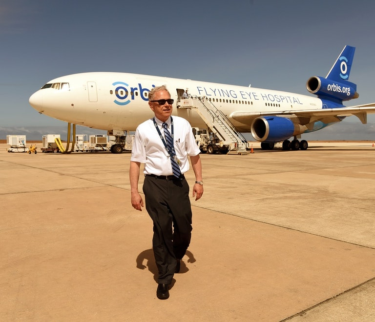 Dr Rudy Wagner outside the Flying Eye Hospital.